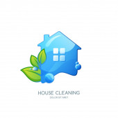 Cleaning service vector logo, emblem or icon design template. Clean house isolated illustration. Home with clean water texture and green leaves.