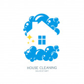 Cleaning service vector logo, emblem or icon design template. Clean house isolated illustration. Home with lather, soap foam and water drops.