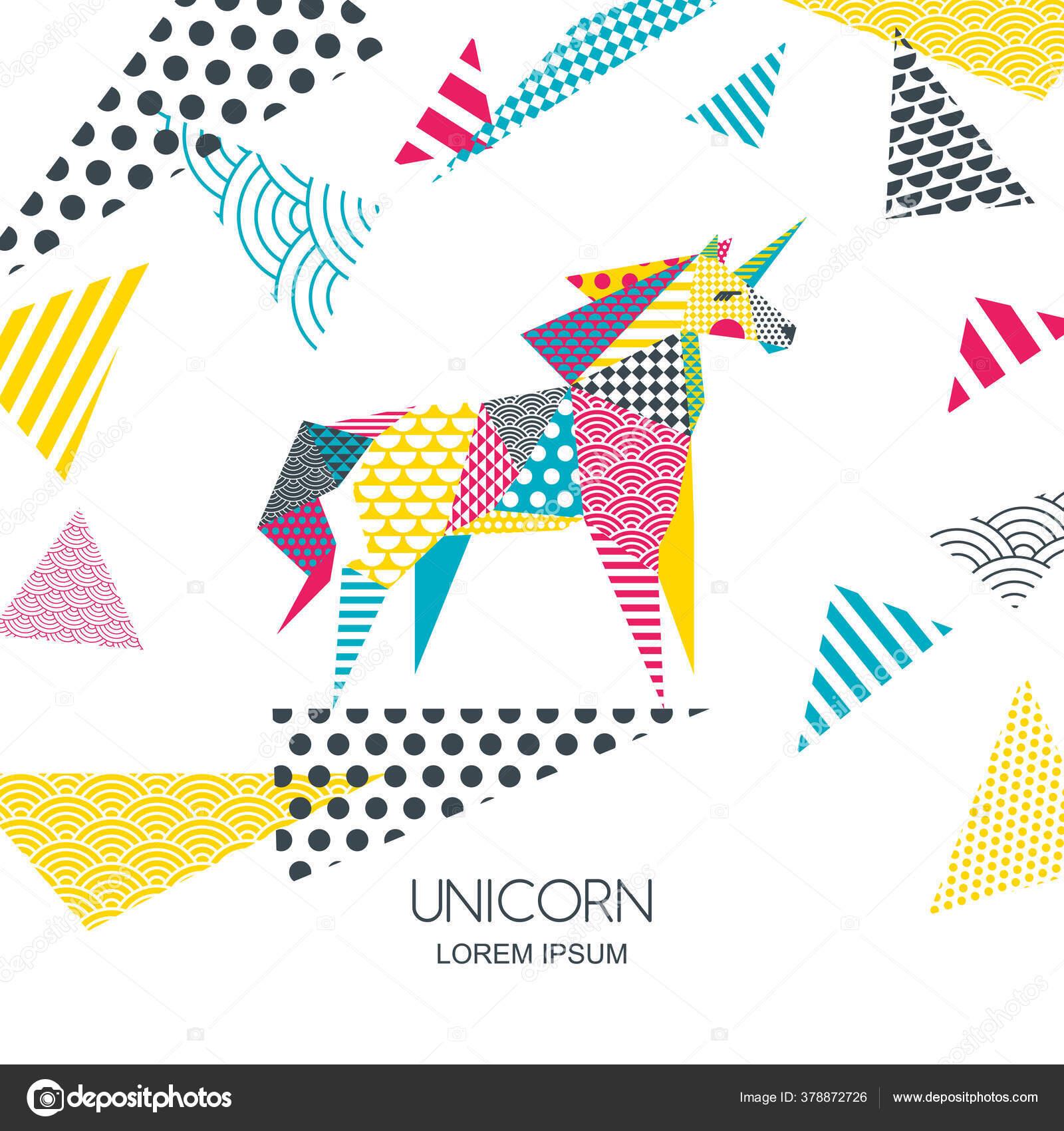 Vector Color Illustration Unicorn Horse Patchwork Geometric Triangle Texture Creative Stock Vector C Betelgejze 378872726