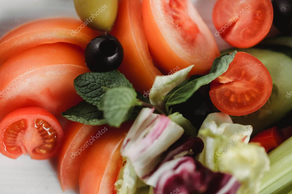 Vegetables on plate. Close up food photo