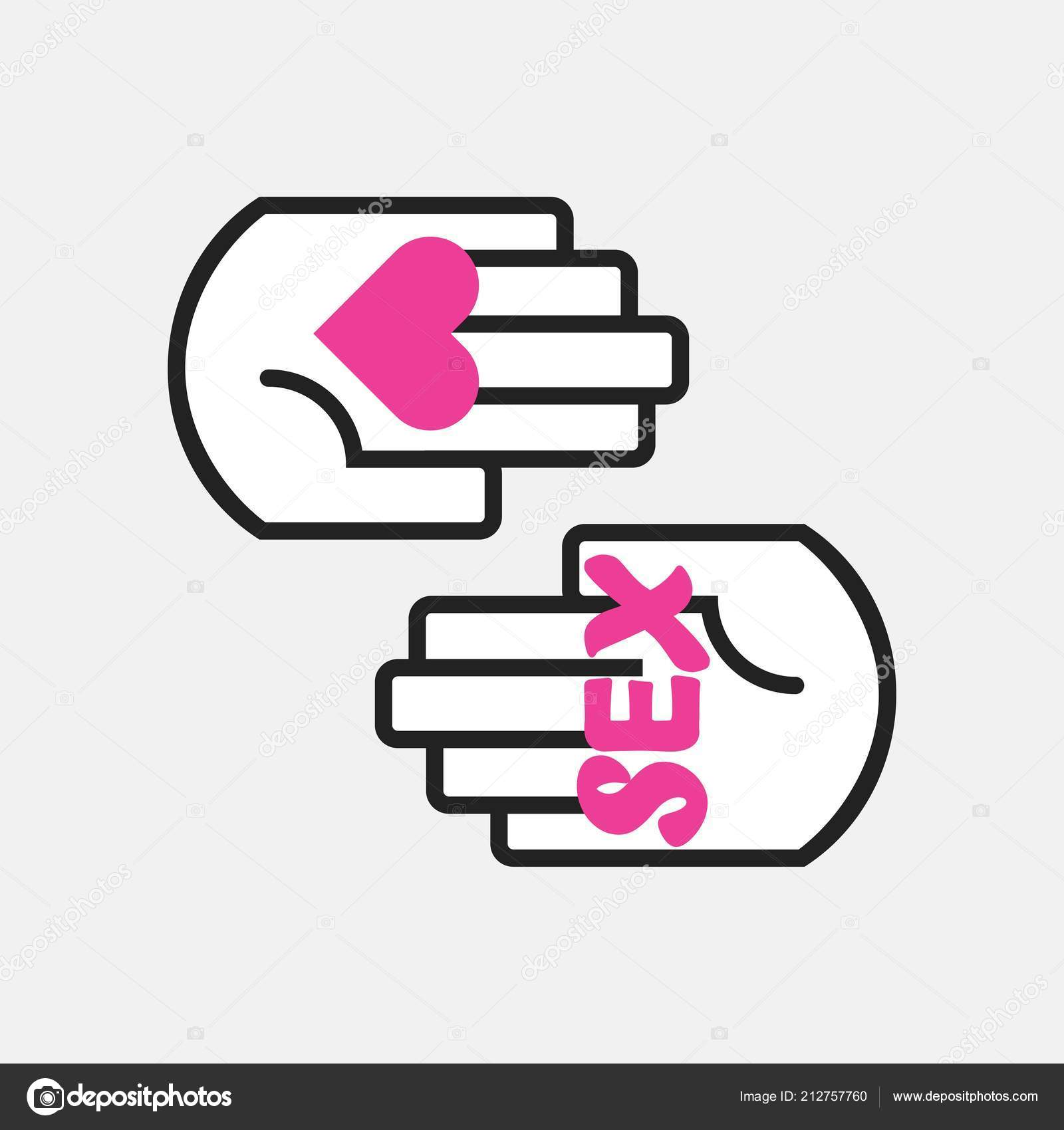Conceptual Two Black Line Hands Symbol Holding Pink Heart Word