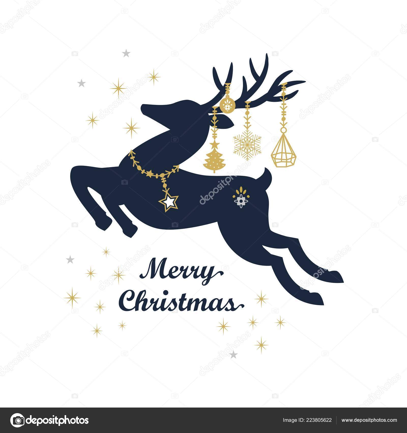 Hanging Christmas Ornaments Silhouette.Abstract Dark Navy Blue Golden Silhouette Jumping Reindeer