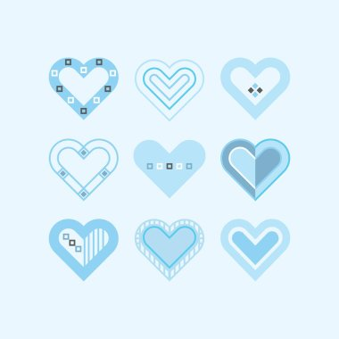 Trendy and cute blue pastel color assorted baby boy hearts icons set frame icon