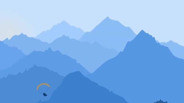 Paraglider v ranních horách, modrý grafický design. Motion animovaný ilustrace pro svobodu a cestování koncept pro webové stránky ilustrace