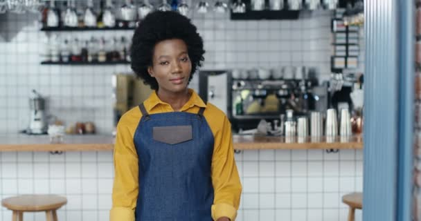 Portrait of African American young happy beautiful woman barista in apron standing at counter in bar, smiling to camera and crossing hands. Waitress posing in cafe with drinks equipment on background