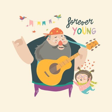 Father playing guitar music to his daughter, loving dad and kid spending time together. Vector Illustration clip art vector