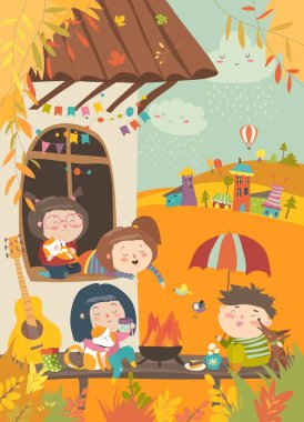 Cute friends sitting around bonfire at backyard. Vector autumn illustration clip art vector