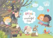 Fotografie Cute cartoon children with animals in spring forest