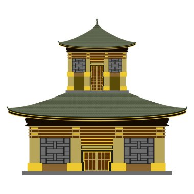 Isolated colored asian building icon