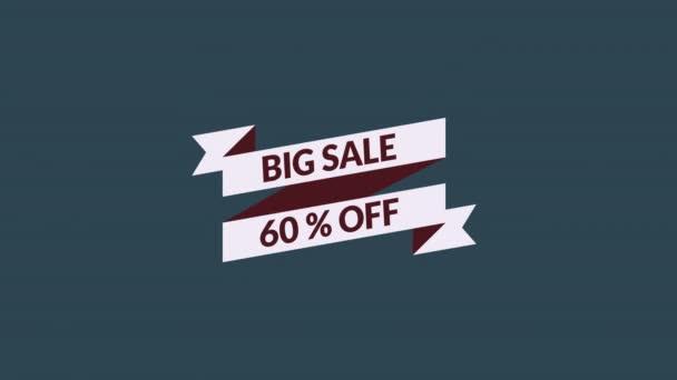 nagy eladó 60% kedvezmény mozgó grafikus videó alfa csatorna átlátszó háttérrel. eladás promóció, reklám, marketing, weboldal. Jogdíjmentes Stock 4K Kép.