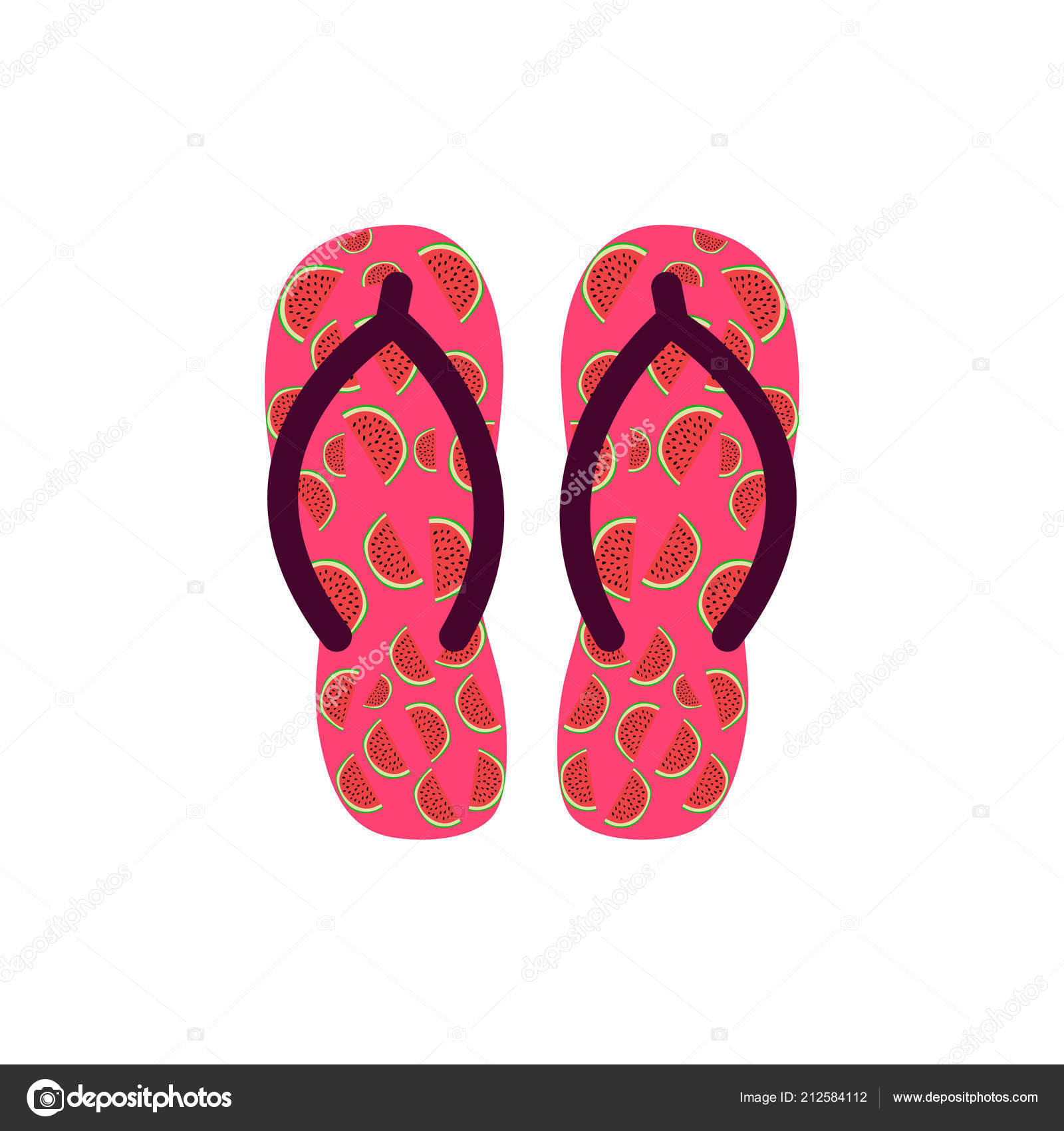 088fe84033b97d Pair of Colorful flip flops with watermelons . Beach slippers.Vector icon  isolated on white background — Photo by ...