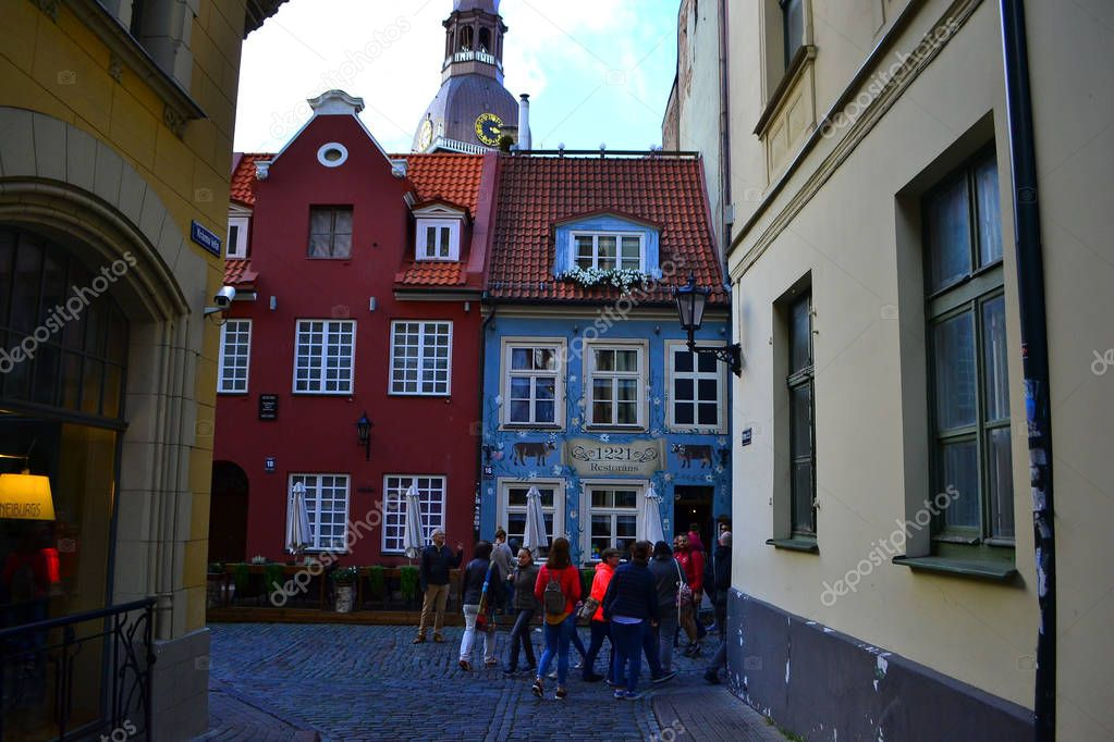 Riga, Latvia.September 28, 2018,Riga Old Town.Narrow Street In Riga