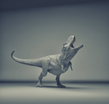 Dinosaur Tyrannosaurus Rex moving quickly on grey background. This is a 3d render illustration