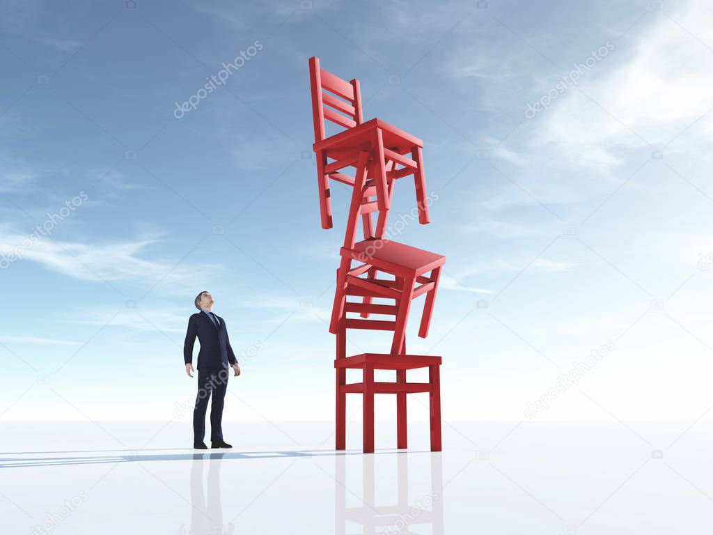 Young man looking at three chairs in equilibrium on blue background. This is a 3d render illustration