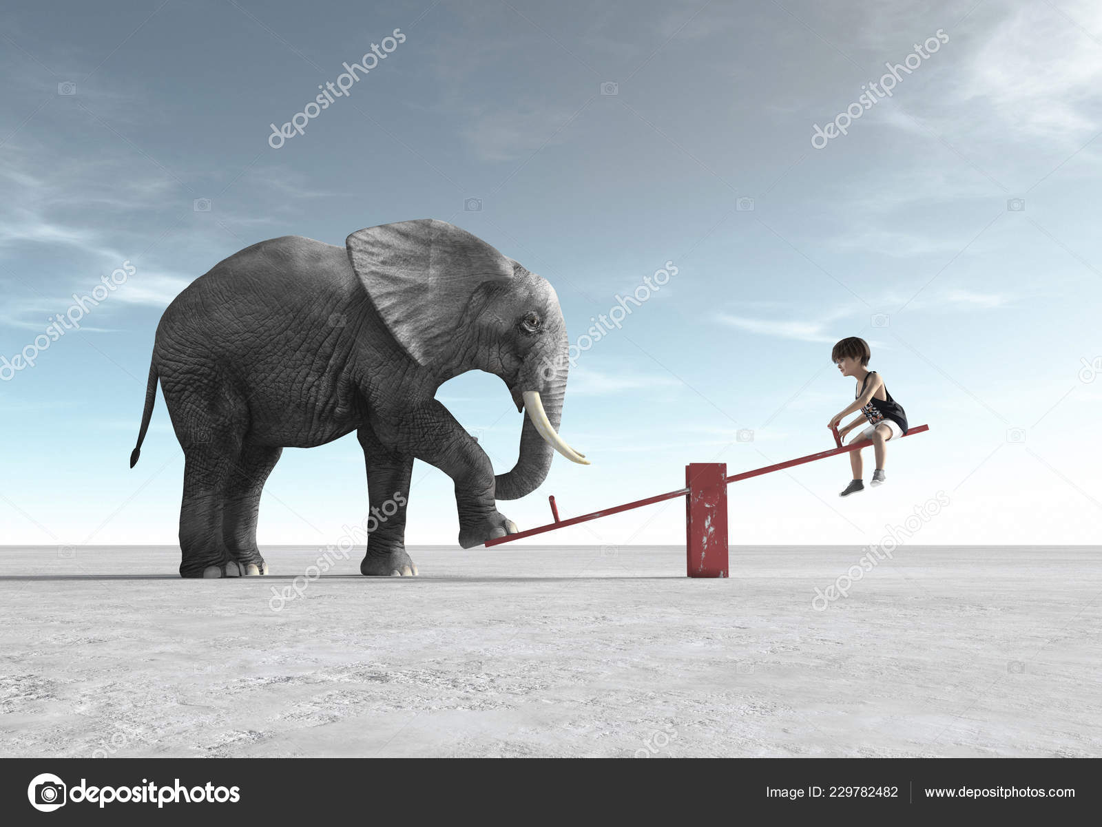 Child Rocking Chair Elephant Render Illustration Stock