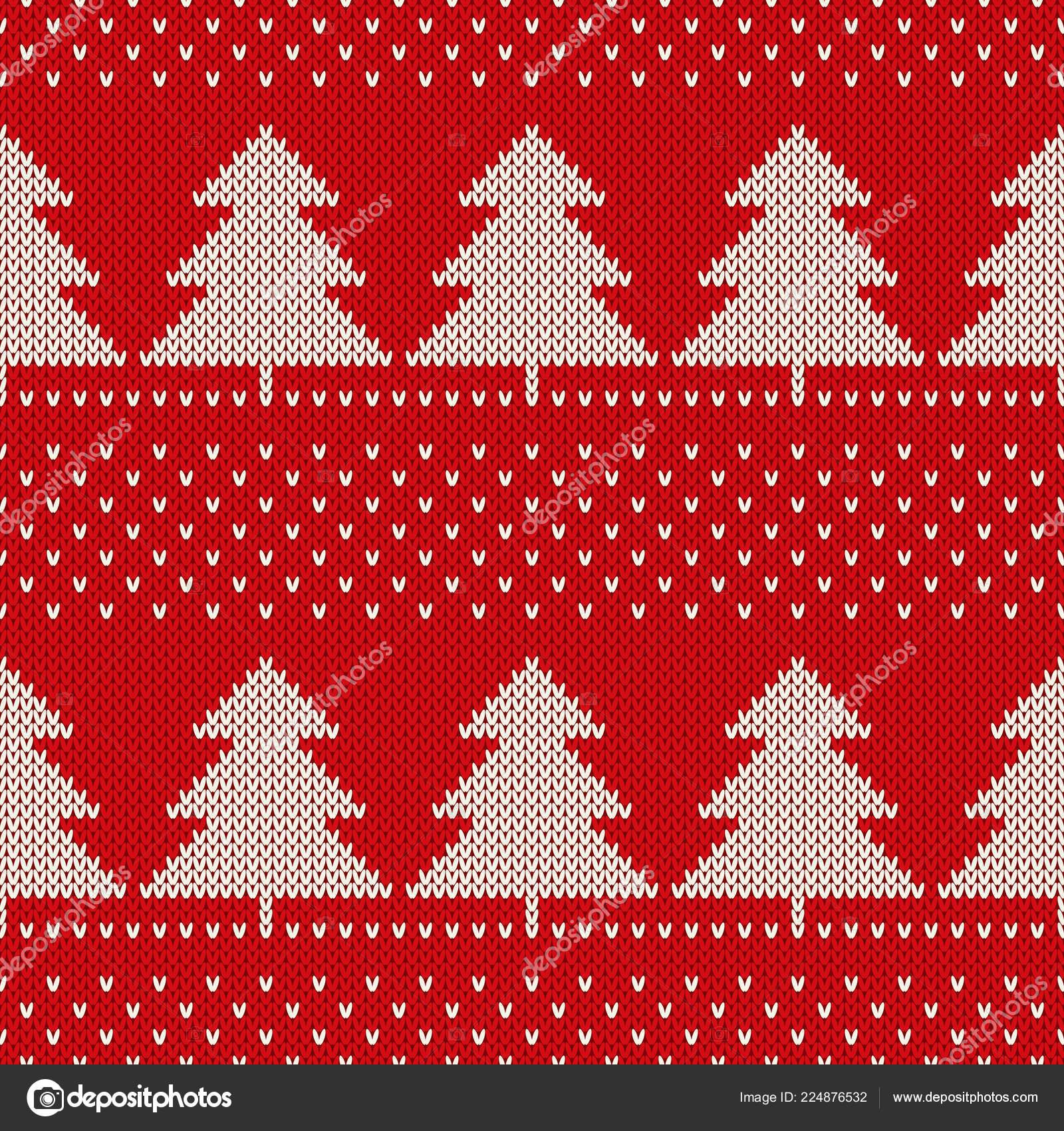 Christmas Knitted Pattern Christmas Trees Wool Knitting Seamless