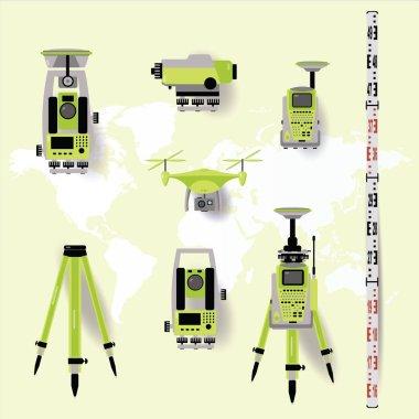 Geodetic measuring equipment, engineering technology for land survey on world map background. Flat design