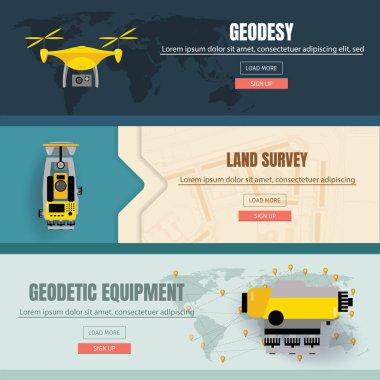 Geodetic measuring equipment banner set, engineering technology