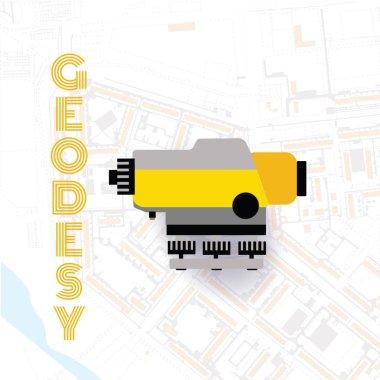 Geodetics engineering technology and equipment. Engineering technology for land survey. Vector line art illustration