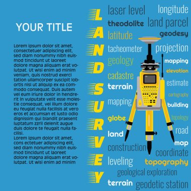 Geodetic measuring equipment, engineering technology for land survey banner on blue background. Isolate icon of total station