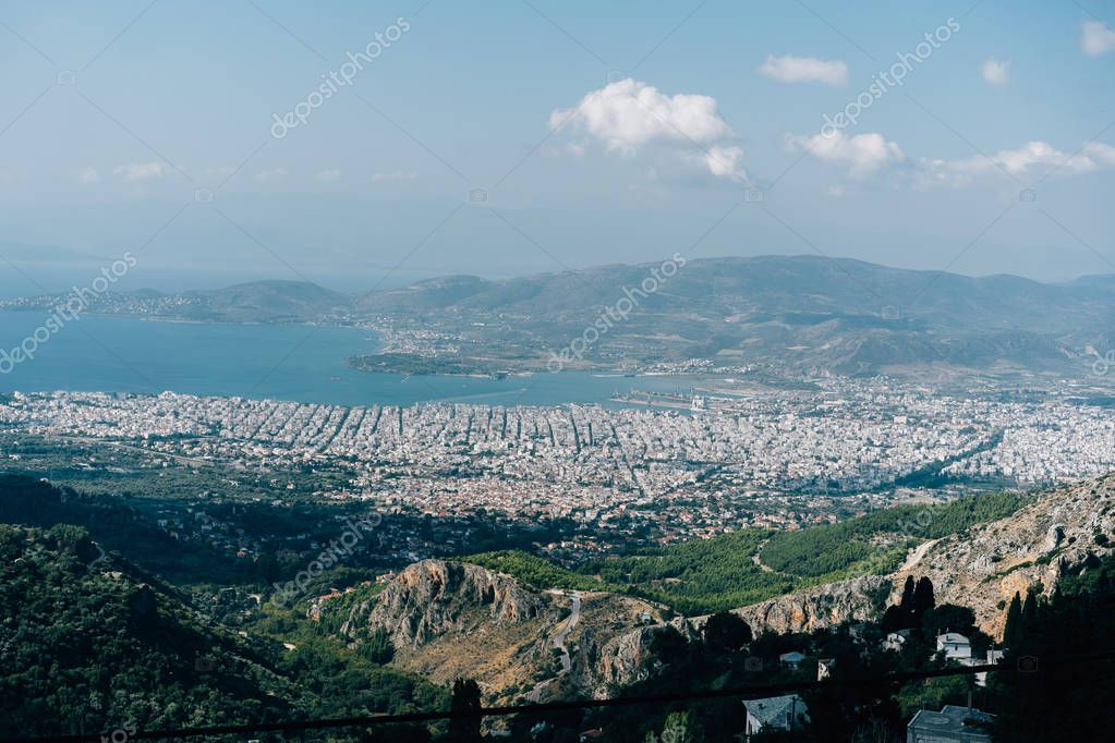 View from the high mountains the coastal city.