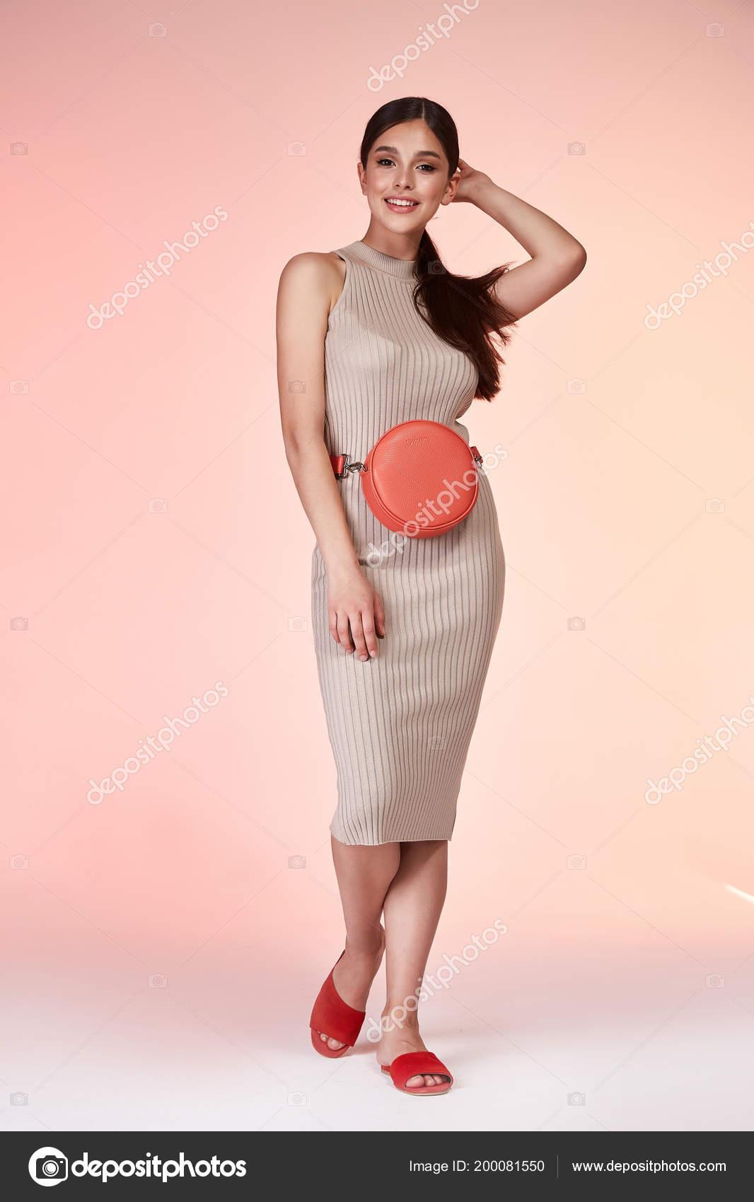 710b264b3a5 Sexy femme élégante beauté naturelle fashion style vêtements casual  formelle Dame en robe beige maigre romantique réunion date courroie  accessoire sac parti ...