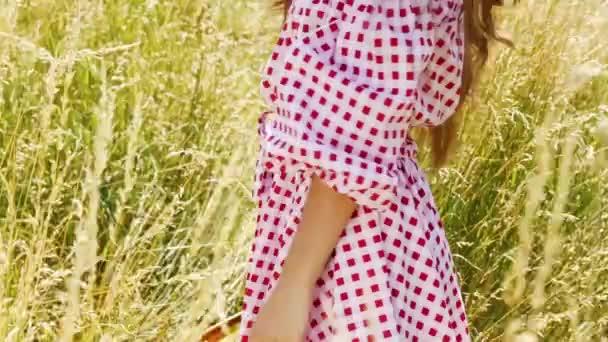 ziemlich sexy Dame Sommerspaß auf der Natur Dorf Landschaft Sonne Sonnenschein Gras Wasser Hitze schön Glamour Modell Mode Stil Baumwolle Kleid Frau tragen Sammlung von Kleidung Zubehör lange Haare Schmuck.