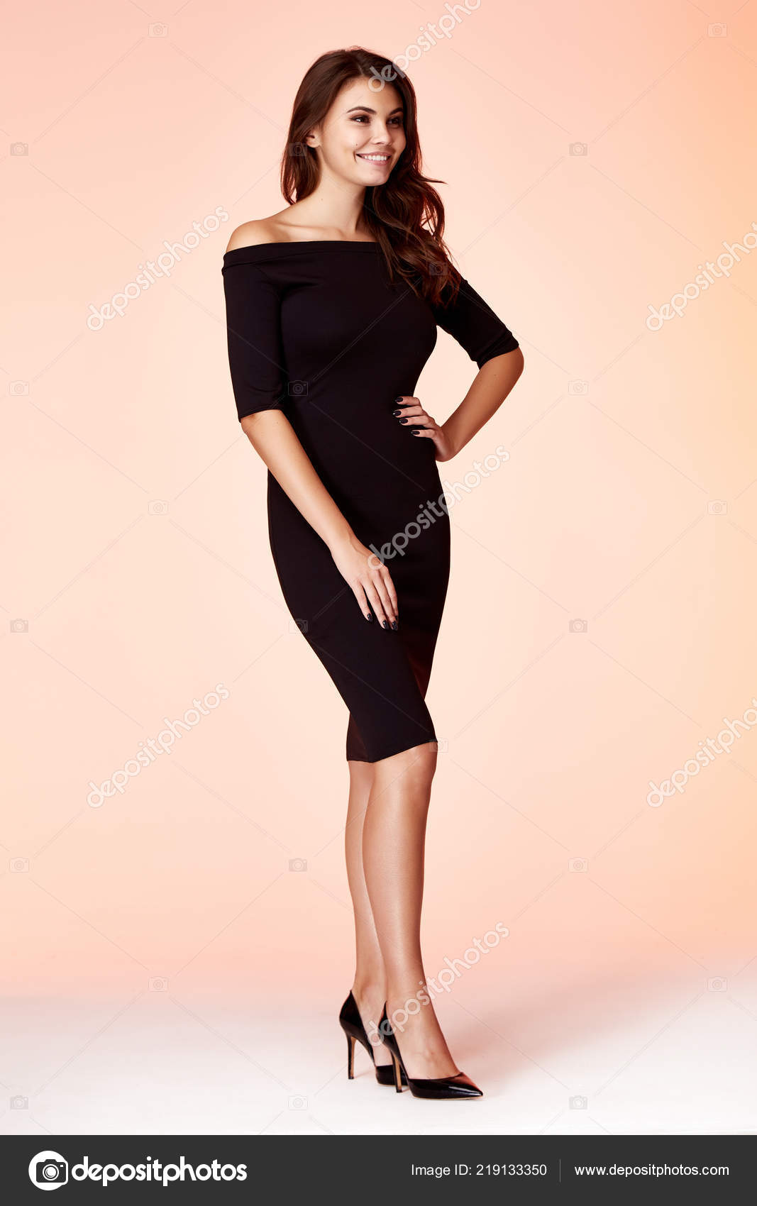 7a572a4731de0 Beauty woman model wear stylish design trend clothing black skinny dress  casual formal office style for work meeting walk party brunette hair makeup  party ...