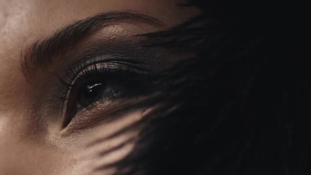 Tvář žena detail modelu kůže péče kosmetika dekorativní kosmetika, jemně dotkne černé peří na tvář, oko, řasenky, oční stíny, ruměnec, obočí, kosmetické make-up, pretty sexy mládež.