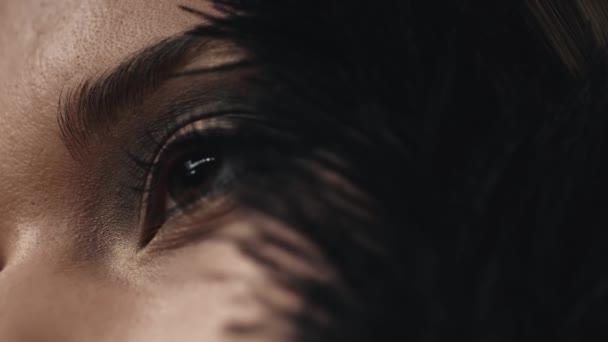 Volto di una donna modello primo piano pelle cura decorativo cosmetica di lusso, delicatamente tocchi il nero piuma sulla guancia, occhi, mascara, ombretto, fard, sopracciglio, bellezza trucco, bella sexy della gioventù.