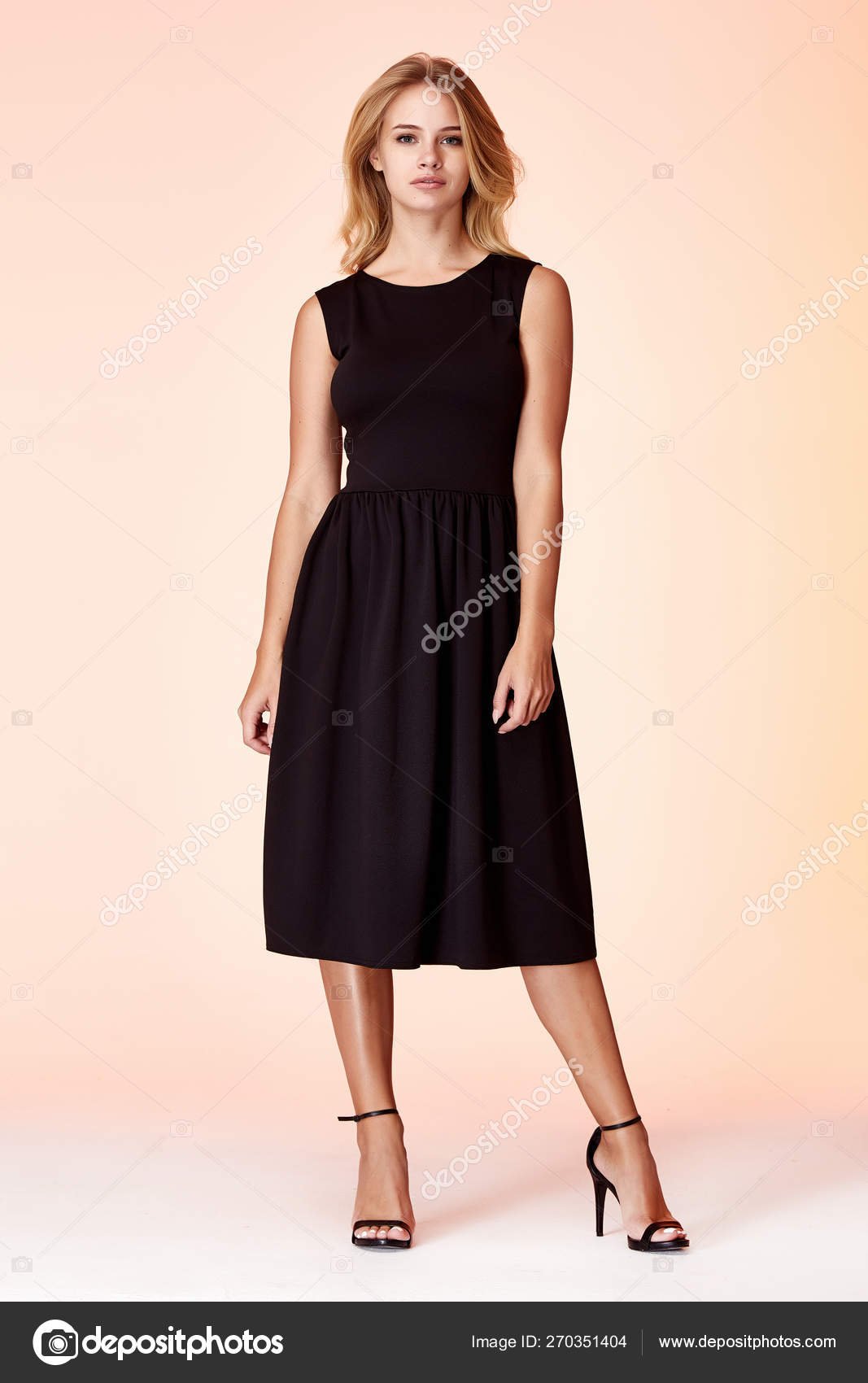 49238f2f32dda Beauty woman model wear stylish design trend clothing black skinny dress  casual formal office style for work meeting walk party blond hair makeup  party ...