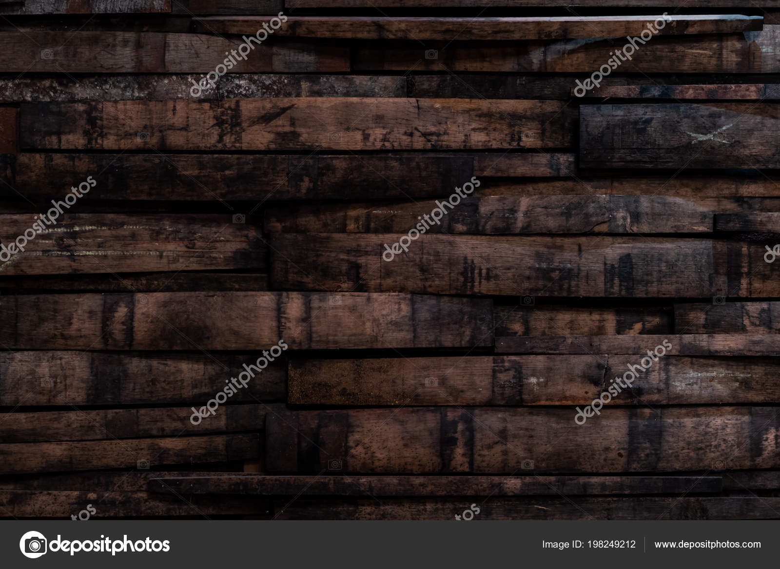 Used Bourbon Barrel Staves Wall Background Image Stock Photo