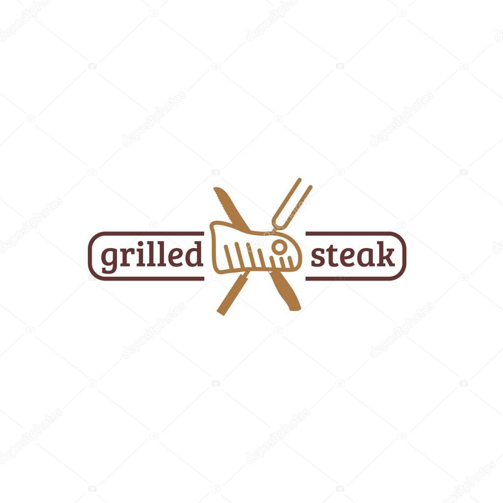 Restaurant Logo With Grilled Meat Fork And Knife Isolated On White Background Suit For Steak Restaurant Identity And Logo Or Promotional Purpose Premium Vector In Adobe Illustrator Ai Ai