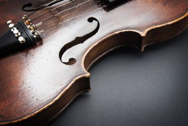 Violin music instrument of orchestra closeup