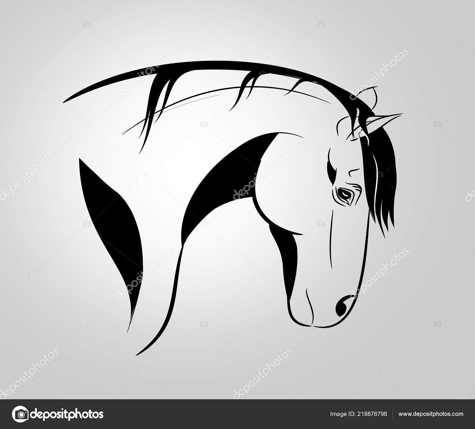 Dessin Au Trait Noir dessin trait noir silhouette tête cheval — photographie sidliks