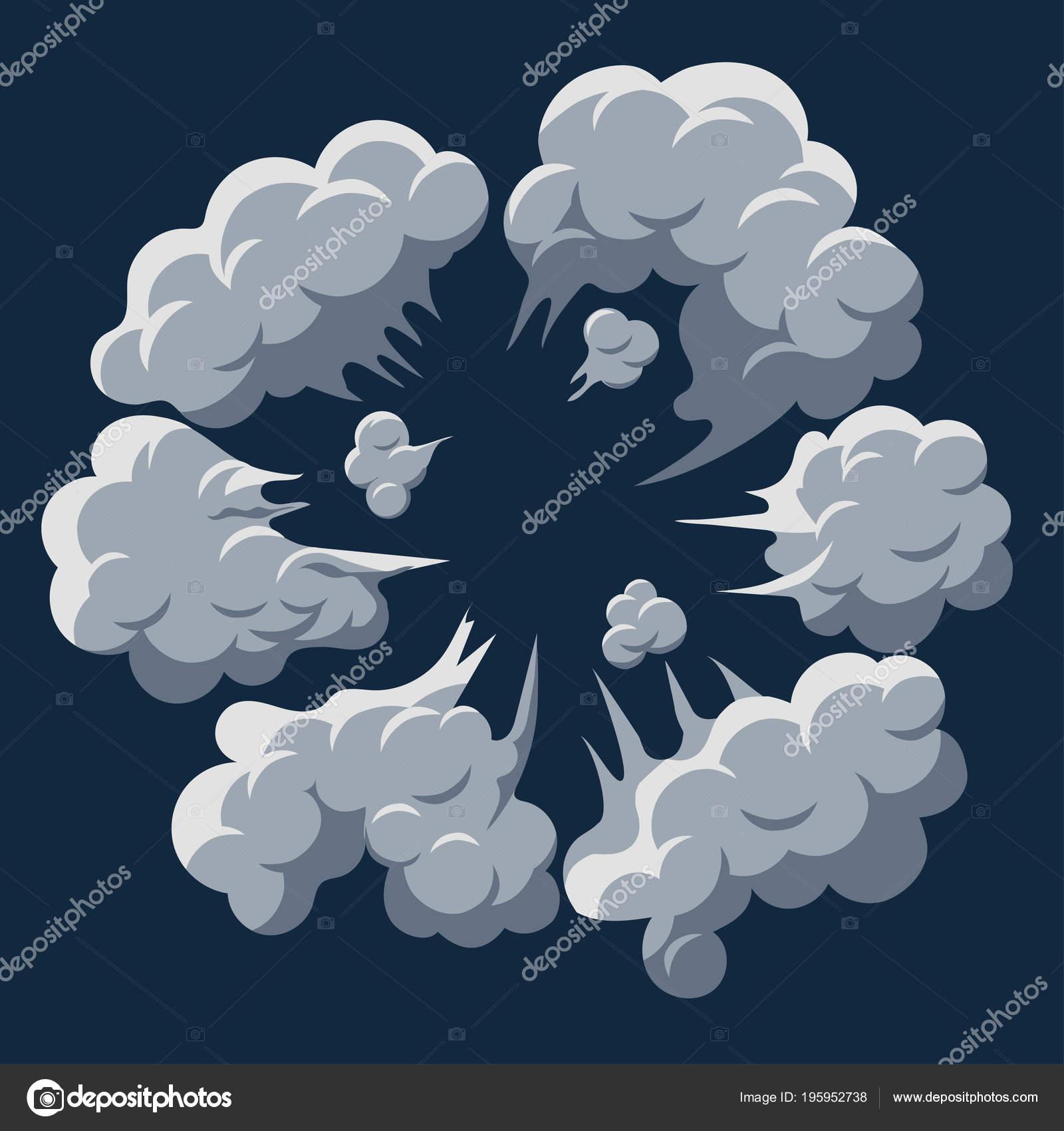 smoke cloud explosion dust puff cartoon frame vector stock vector
