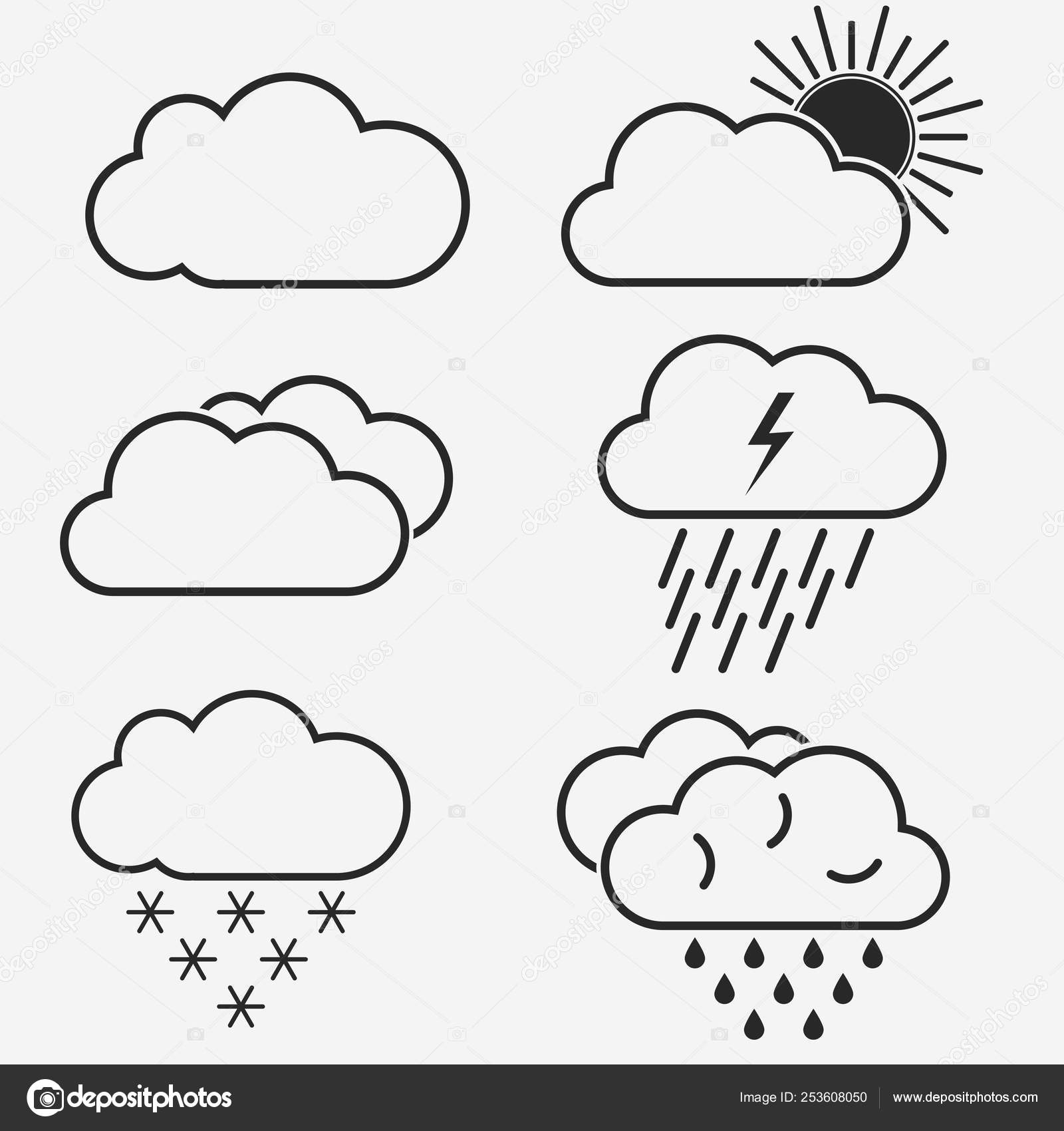 Weather vector line icons  Symbols of the sun, clouds