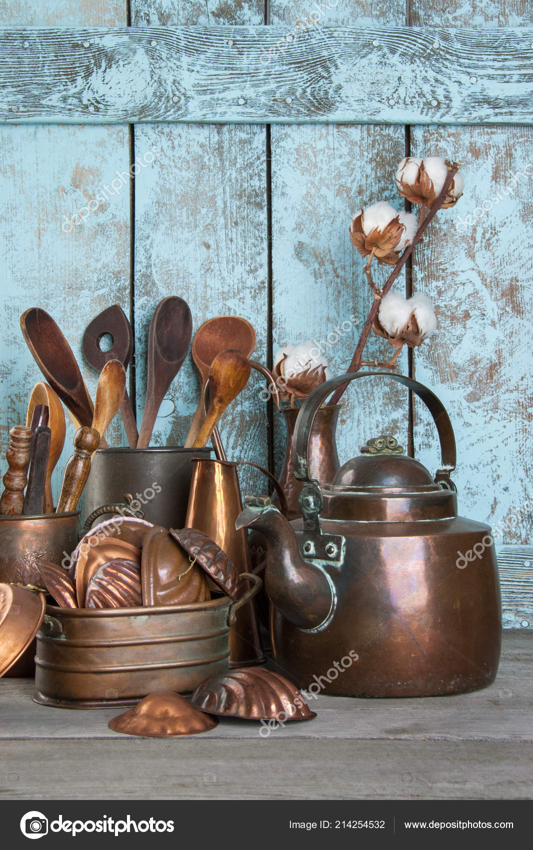 Vintage Copper Kitchen Utensils Wooden Blue Background Props Food Photography Stock Photo C Voisine 214254532