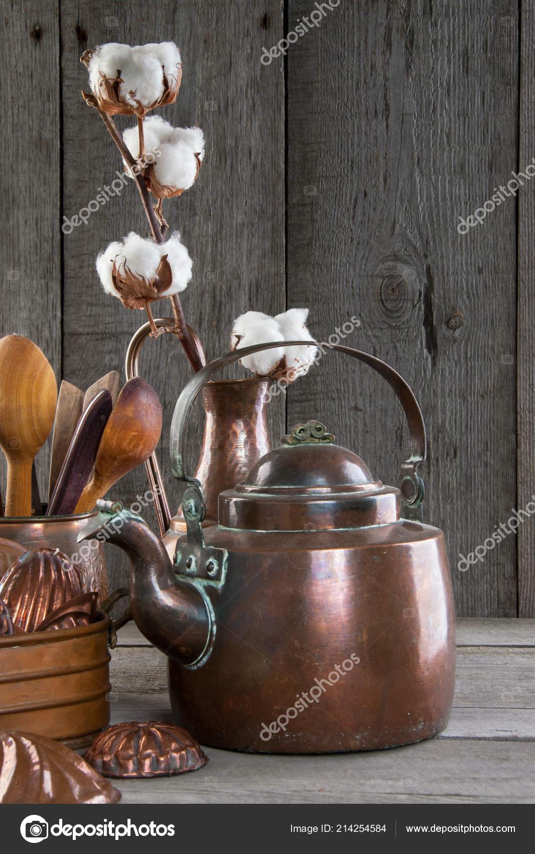 Vintage Copper Kettle Kitchen Utensils Wooden Gray