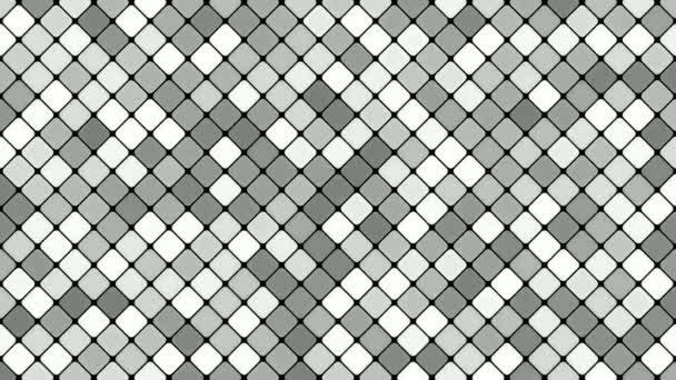 Abstraktní diagonální čtvercové mozaika vzor pozadí - bezešvé smyčka pohybu grafiku v šedých tónech