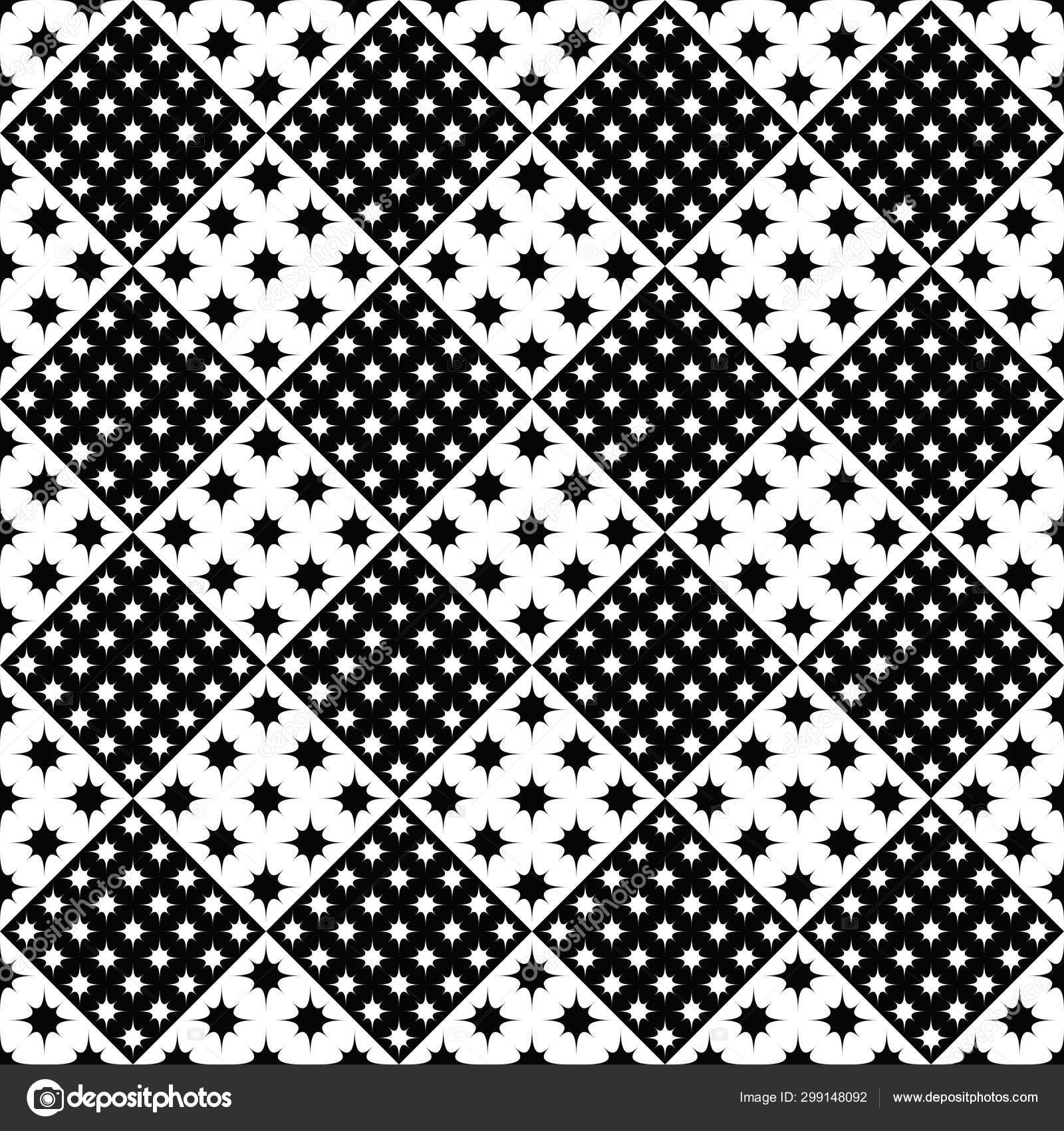 Seamless Geometrical Black And White Star Pattern Background