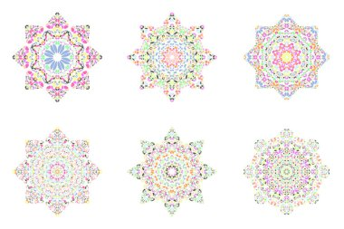 Isolated abstract floral mosaic star symbol template set