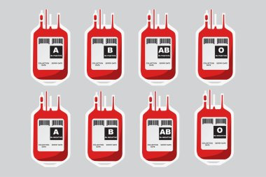 Plastic blood bag for all blood type, A, B, AB, O. Donate blood concept. icon