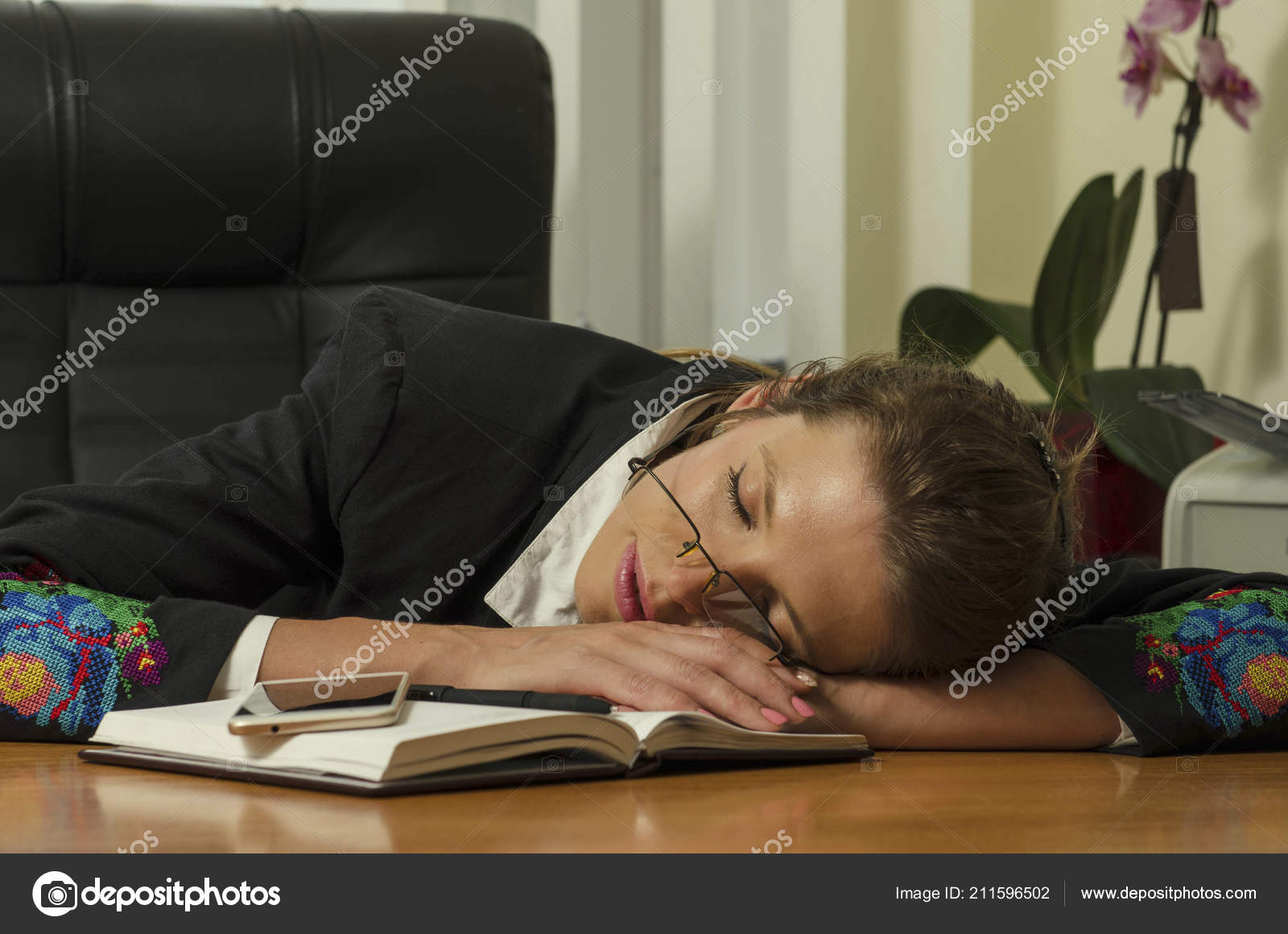 Beautiful Office Woman Sit Sleep Table Office She Work Hard Stock