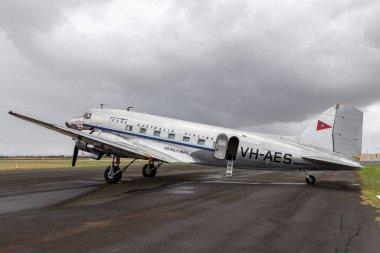 Avalon, Australia - February 28, 2013: Vintage Douglas DC-3C airliner VH-AES in Trans Australian Airlines livery.