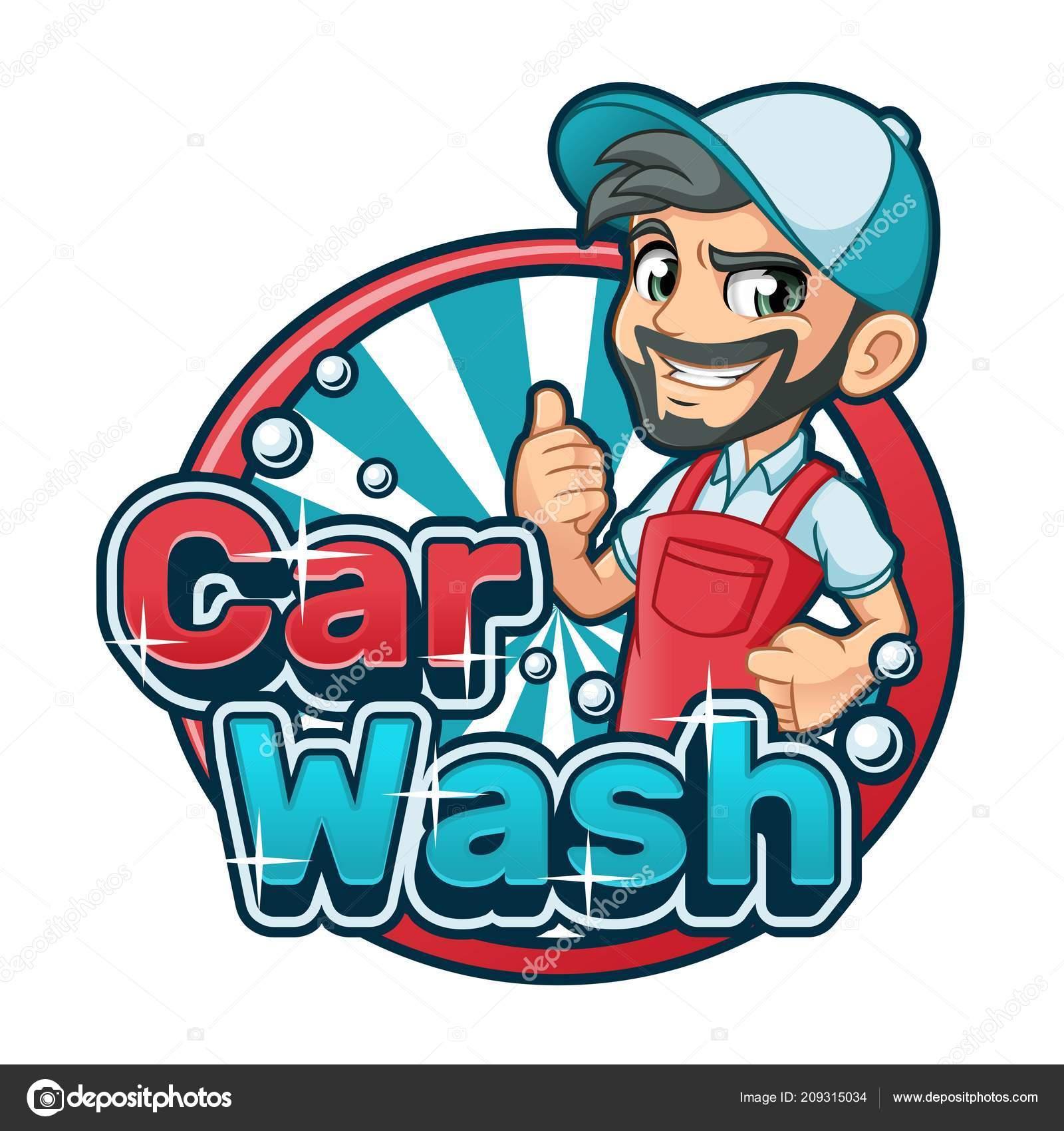 Car Wash Cartoon Logo Character Design Vector Illustration Stock