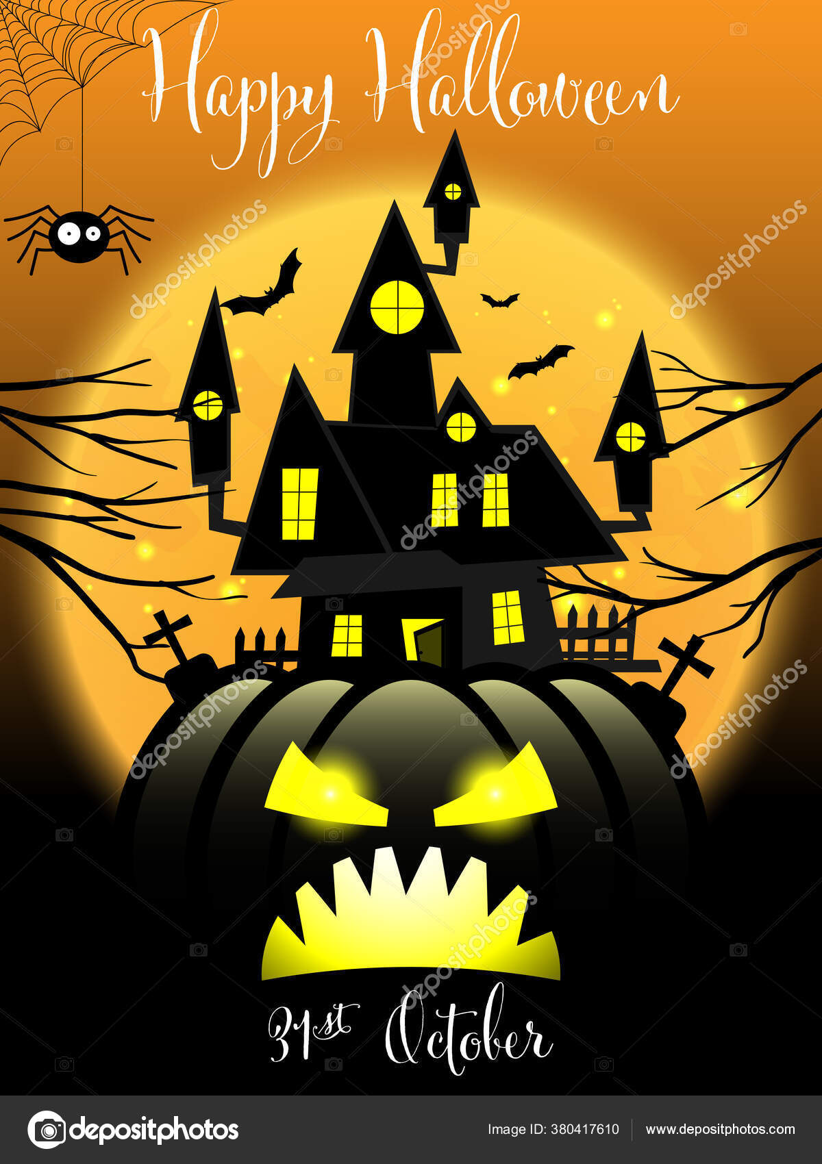 Latar Belakang Halloween Haunted House Jack Lantern Dengan Langit Bulan Stok Vektor C Winezdolly Hotmail Com 380417610
