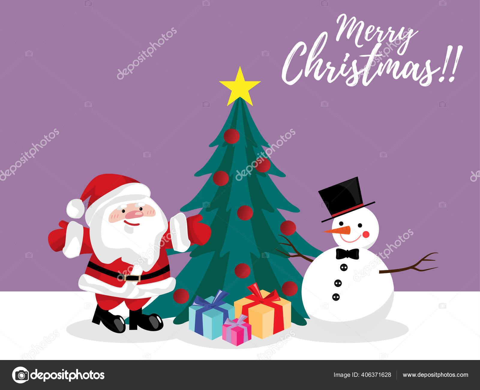 Christmas Cartoon Santa Claus Snowman Christmas Tree Gift Box Snow Stock Vector C Winezdolly Hotmail Com 406371628
