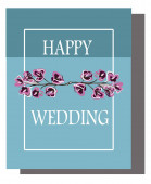 Vector cards and business cards for the holidays, wedding invitations. Birthday. Blue background and pink flowers. Isolated objects.