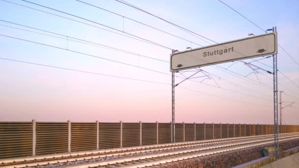 stuttgart train station signboard,train travels under railway billboard